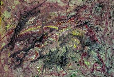 Materialitätsexperiment: Asche, Sand, Zucker, Öl, Acrylfarbe