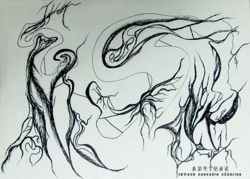 Zeichnung mit Kugelschreiber